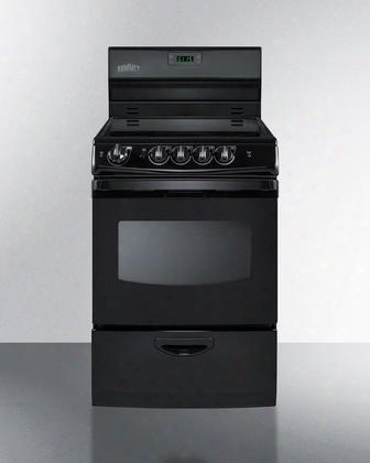 "Rex243b 24"" Smoothtop Electric Range With Digital Clock And Timer Storage Drawer Oven Window With Light Four Cooking Zones Indicator Lights Push-to-turn"