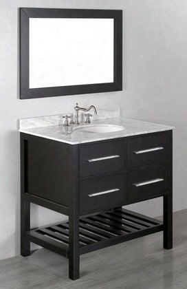 "Sb-250-3 36"" Single Vanity In Black With White Carrara Marble"