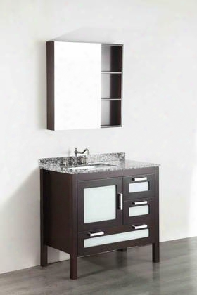 "Sb-251-1 37"" Single Vanity In Dark Espresso With Waves Of Carrara Marble"