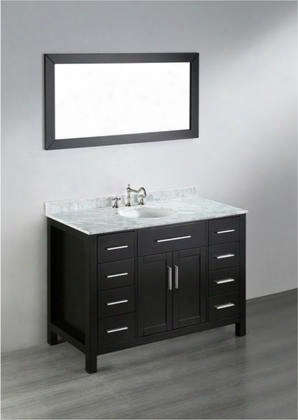 "Sb-252-3 47"" Single Vanity In Black With White Carrara Marble"