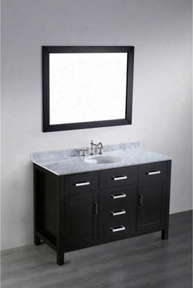 "Sb-252-6 49"" Single Vanity In Black With White Carrara Marble"
