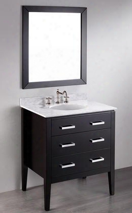 "Sb-260 31"" Single Vanity With Mirror Included White Carrara Marble Top 2 Drawers And Polished Chrome Handles In"