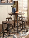 "D30713124(4) Challiman Round Dining Room Counter Table with Four 24"" Barstools Planked Pine Veneer Top and Adjustable Lever Feet in Blackened"