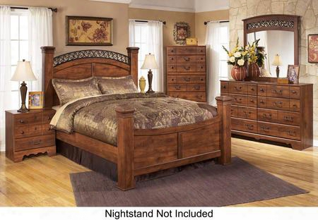 Timberline King Bedroom Set With Poster Bed Dresser Mirror And Chest In Warm