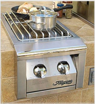 "Alsb-2cng 14"" Natural Gas Built-in Dual Side Burner For Cart Mount With Two X 20 000 Btu Burners Electronic Ignition Stainless Steel Construction Recessed"