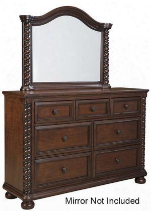 B66731 Brennville Dresser With Seven Drawers Large Bun Feet Cherry Veneers And Poplar Solids In Brown