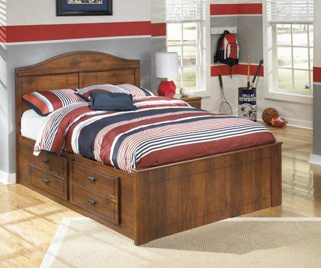 Barchan Collection B228-50/87/84/b100-12 Full Size Panel Bed With Replicated Timber Cherry Grain Vintage Copper Drawer Pulls And Side Roller Glides In Medium