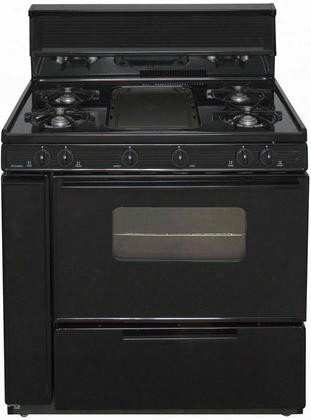 "Blk5s9bp Ada Compliant Black 36"" Three-way Top Cordless Battery Spark Gas Range With 3.9 Cu. Ft. Capacity Five Cooktop Burners 10"" Tempered Black Glass"