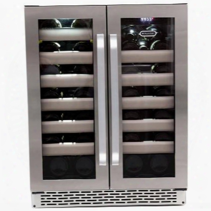 Bwr-401ds Elite 40 Bottle Dual Zone Built-in Wine Refrigerator With Sabbath Mode Seamless Stainless Steel Glass French Doors With Sleek Black
