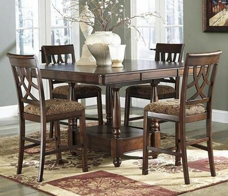 D43632124 Leahlyn Dining Room Extandable Counter Table With Four Barstools Birch Veneers And Prima Vera Veneer Border  In Brown