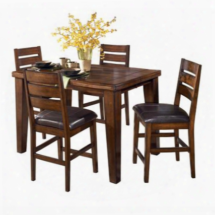 D44232124 Larchmont Butterfly Leaf Pub Table With Four Barstools Two-sided Taper Shape Legs Thick Built-up Edge And Solid Hardwoods In Dark