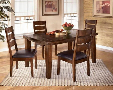 D4424501 Larchmont Extension Dining Index With Four Chairs Leaf Thick Built-up Edge Solid Hardwoods And Two-sided Taper Shape Legs In Dark