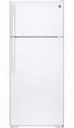 "Gts18gthww 28"" Top Freezer Refrigerator With 17.5 Cu. Ft. Capacity Upfront Temperature Controls Adjustable Spillproof Glass Shelvew Snack Drawer"
