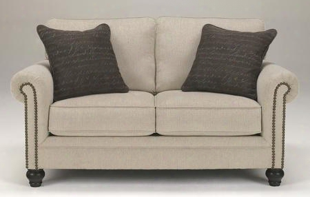 "Milari Collection 1300035 66"" Loveseat With Fabric Upholstery Nail Head Accents Rolled Arms And Casual Style In"