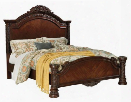 North Shore Collection B553-256/158/194 California King Size Panel Bed With Inlaid Marble Caps Ornate Accents And Decorative Pilasters In Dark