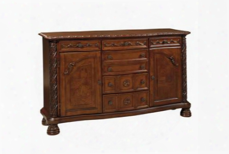 "North Shore D553-60 70"" Dining Room Server With Decorative Pilasters Ornately Detailed Appliques And Adjusable Shelved"