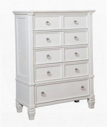 "Prentice Collection B672-46 42"" 5-drawer Chest With Satin Nickel Color Hardware Felt-lined Top Drawer And Molding Details In"