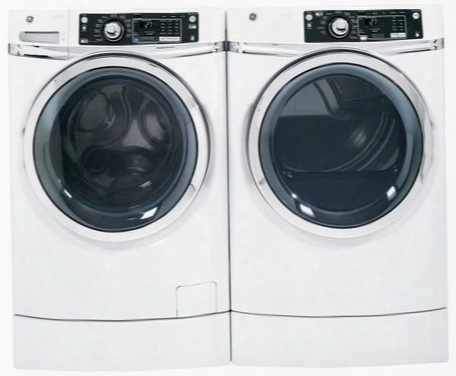 """Rightheight Design White Front Load Laundry Pair With Gfwr2700hww 28"""" Washer And Gfdr270ehww 28"""" Electric"""