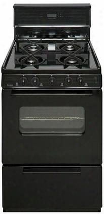 "Sjk240bp Black 24"" Electronic Spark Gas Range With 3 Cu. Ft. Capacity Four Sealed Variable Burners Heavy-duty Cast-iron Grates And 10"" Tempered Glass"