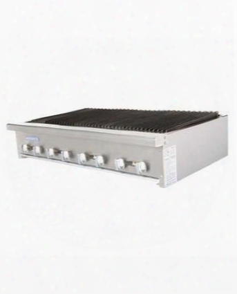 """Tarb48 48"""" Broiler With Stainless Steel Construction Heavy Duty Cast Iron Radiant Cover Bull-nose Stainless Steel Fron Tremovable Heavy Duty Angled Radiant"""