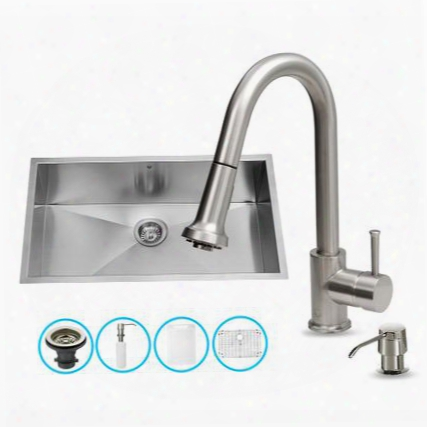 "Vg15293 All In One 30"" Undermount Kitchen Sink And Faucet Set With Solid Brass Pull Out Spray Soap Dispenser Bottom Grid Sink Strainer Embossed Vigo"