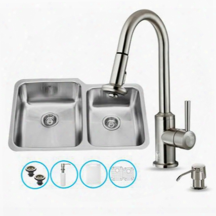 "Vg15313 All In One 32"" Undermount Kitchen Sink And Faucet Set With Solid Brass Pull Out Spray Soap Dispenser Bottom Grid Sink Strainer And Embossed Vigo"
