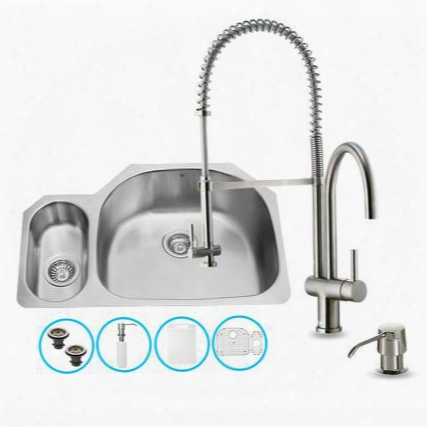 "Vg15325 All In One 32"" Undermount Kitchen Sink And Faucet Set With Solid Brass Spiral Pull Down Sray Soap Dispenser Bottom Grid Sink Strainer And Embossed"