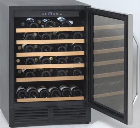 "Wcr506ss 24"" 50 Bottle Undercounter Wine Chiller With 6 Roll-out Shelves Led Lighting And Reversible Glass Door With Stainless Steel"