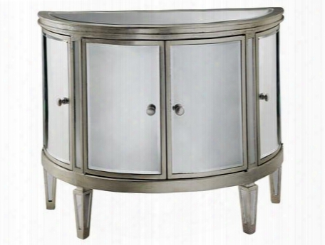 12518 Four-door Halton Chest With Mdf And Veneer Wood Construction In Silver Leaf