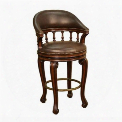 126836 Traditional Giovanni Counter Height Stool With Hand Carving Nail Head Accents Mortise And Tenon Construction Antique Brass Foot Rest And Leather