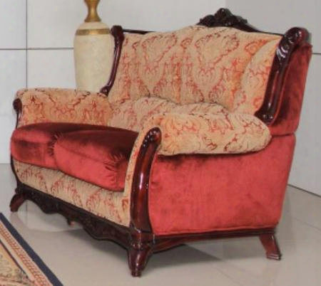 2200burgundyl Traditional Style Loveseat With Hand Carved High Gloss Mahogany Wood Frame Exquisite Details And Finest Patterned Fabric Upholstery In