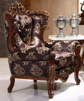 702espressoc Traditional Style Chair With Wood Finish Exquisite Carved Details And Finest Fabric Upholstery In