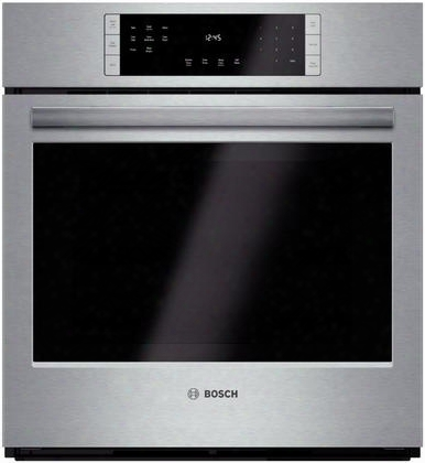 "800 Series Hbn8451uc 27"" Electric Single Wall Oven With 4.1 Cu. Ft. Smoothclose Door Telescopic Rack Touch Control With Steeltouch Buttons Ecoclean And"