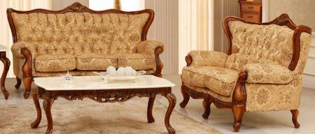 995fbeiges2set Traditional 2 Piece Livingroom Set Soofa And Loveseat In Beige With Matte Walnut