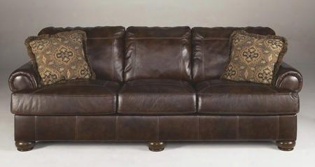 "Axiom Collection 4200038 100"" Sofa With 100% Leather Upholstery Plush Rolled Arms Stitched Detailing And Casual Style In"
