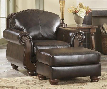 """Barcelonaa Collection 5530020 43"""" Chair With Faux Leather Upholstery Rolled Arms Bun Feet And Traditional Style In"""