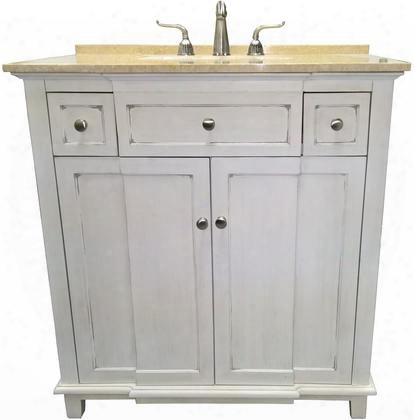 "Brighton 2009wc 34"" Single Sink Vanity With Cream Marble Top 1"" Backsplash 1 Porcelain Undermount Sink 1 Shelf And 2 Felt-lined Drawers With Metal Roller"