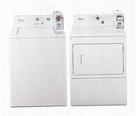 "Commercial White Top Load Laundry Pair With Cae2743bq 27"" Washer And Cgm2743bq 27"" Gas"