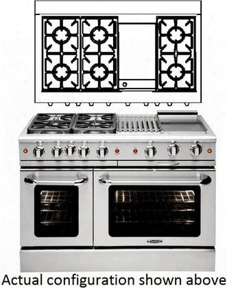 "Culinarian Mcor486gl 48"" Freestanding Liquid Propane Range With 23000 Btu Burners 6 Open Burners 7.6 Cu. Ft. Interior Ez-glides Stay-cool Knobs Automatic"