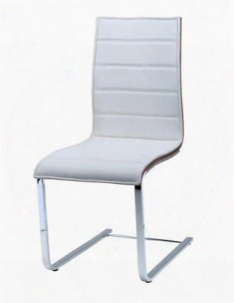 Lc10031siwh Contemporary White Dining Chair With Stainless Steel Legs And Walnut Trim (set Of