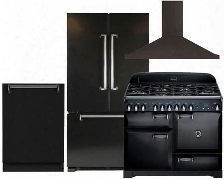 "Legacy Amlfdr20blk 36"" Freestanding French Door Refrigerator 4-piece Black Kitchen Package With Aleg44dfblk 44"" Feestanding Dual Fuel Range Alttdwblk Fully"
