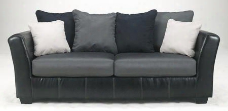 "Masoli Collection 1420038 90"" Sofa With Fabric And Faux Leather Upholstery Flared Arms Stitched Detailing And Contemporary Style In"