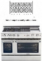 "Culinarian Series MCOR448N 48"" Natural Gas Range with 8 Open Burners 4.9 Cu. Ft. Capacity EZ-Glides Stay-Cool Knobs and Back Trim in Stainless"