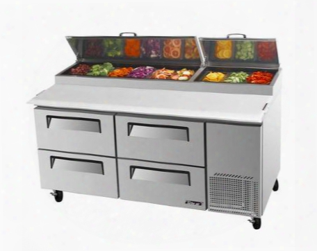 Tpr67sdd4 20 Cu.ft Pizza Prep Table With 4 Drawers Extra Deep Cutting Board Excellent Cooling System And Stainless Steel Cabinet