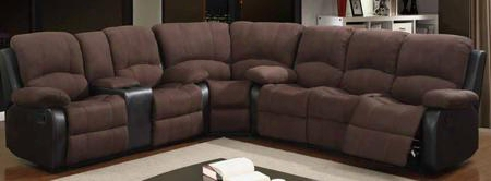 U1710-choc-sectional Three Piece Reclining Sectional Sofa With S-spring Wood Frame And Padded Suede/polyurethane Upholstery In Rider