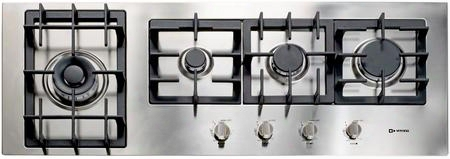 "Vectgm424ss 42"" Designer Series Gas Cooktop With 4 Burner Design Front Controls Sealed Burners Heavy Duty Cast Iron Grates & Caps And 20 000 Btu Tested In"