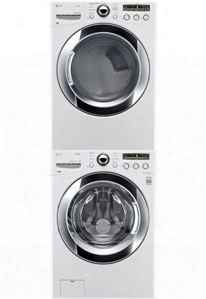 """White Front Load Laundry Pair With Wm3250hwa 27"""" Washe Dlgx3251w 27""""g As Dryer And Kstk1 Stacking"""