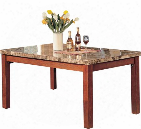 07045 Bologna Dining Table Brown Marble & Brown