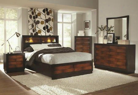 202911ke6p Rolwing 6 Piece Bedroom Set With King Storage Bed Chest Dresser Mirror And Two