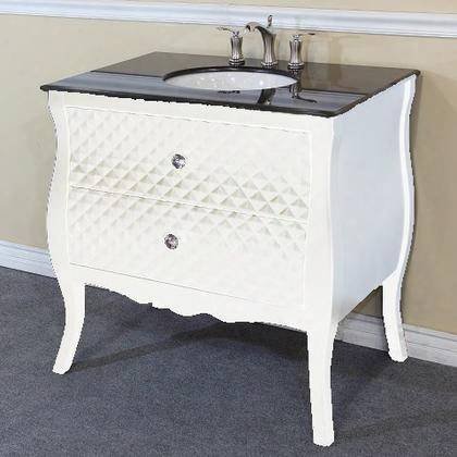 203057b-wh 35.4 Single Sink Vanity - Wood - Black - White Phoenix Stone Top With Rectanglar
